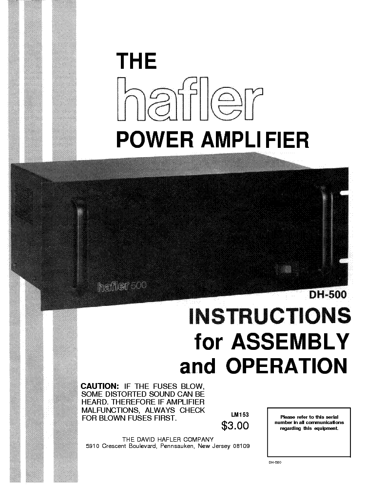 HAFLER DH-500 SM Service Manual download, schematics, eeprom, repair