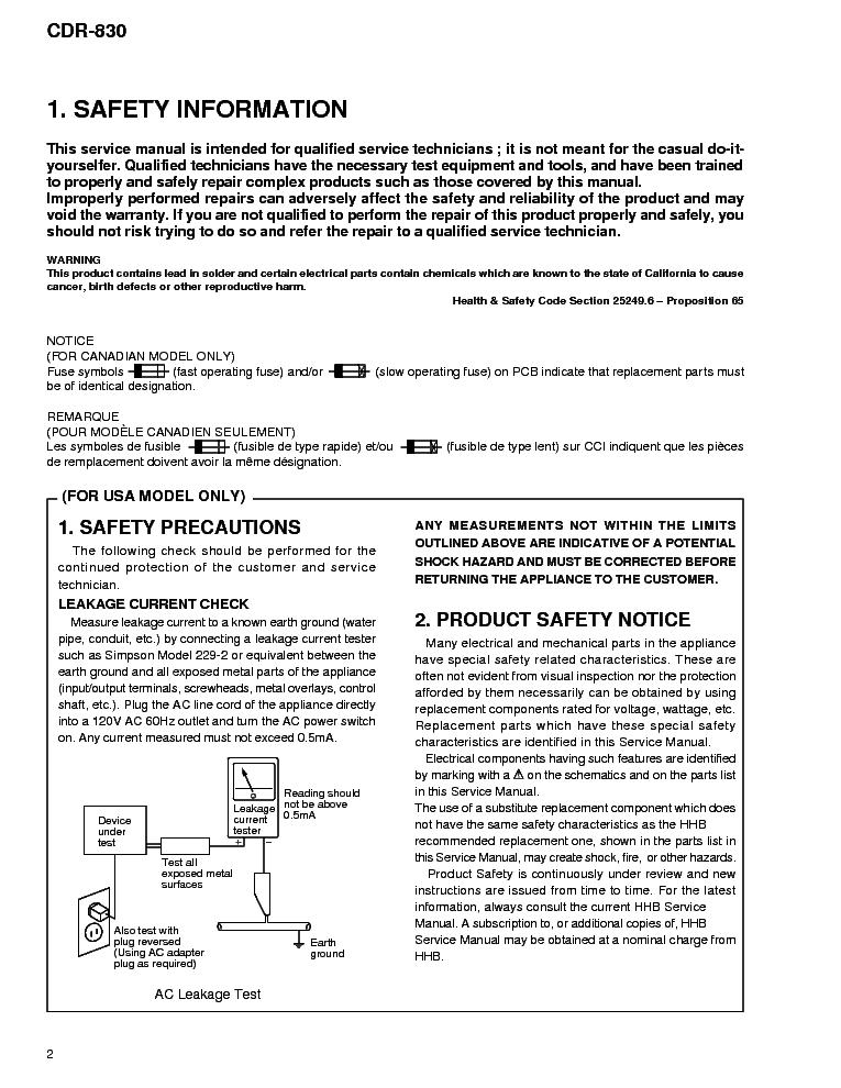 Hhb Cdr830 Professional Cd Recorder Service Manual