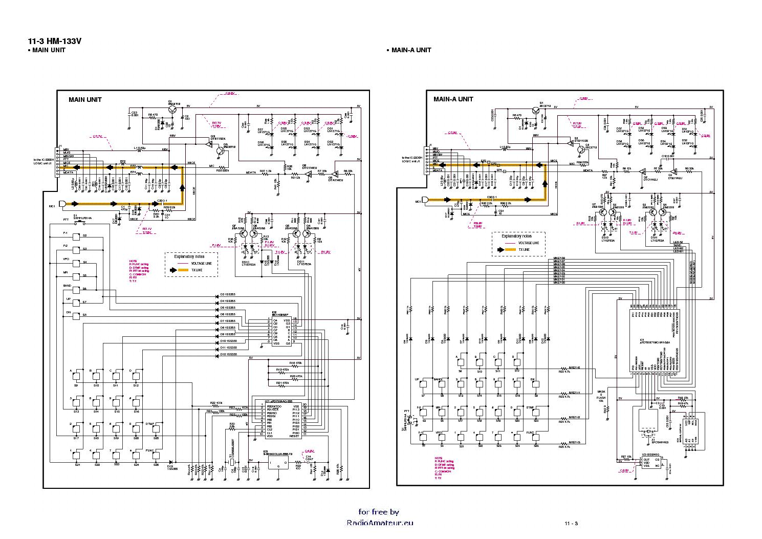 ICOM HM-133 SM Service Manual download, schematics, eeprom ... on
