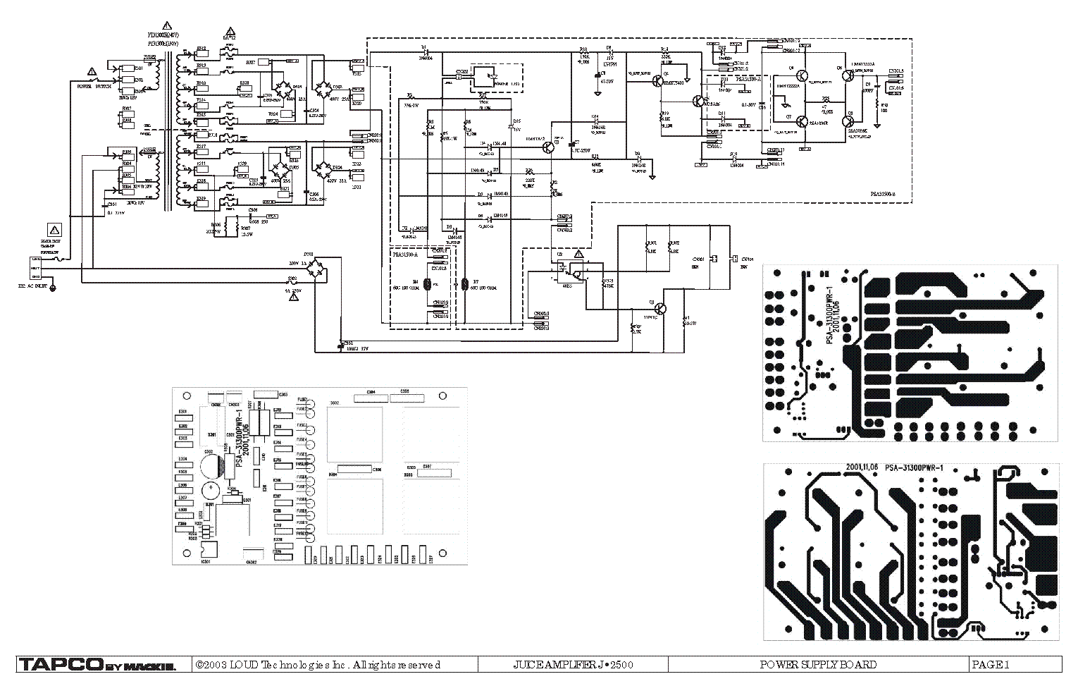 JUICE 2500 POWER SUPPLY PCB ASSEMBLY SCHEMATICS AND LAYOUT Service ...
