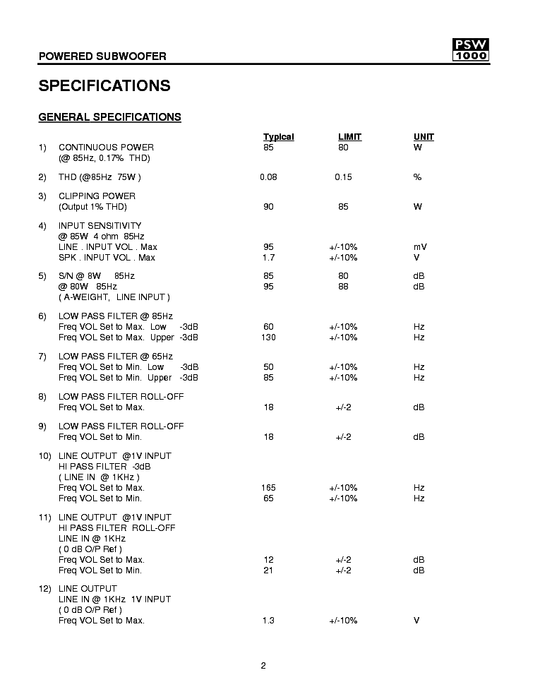 KEF PSW1000 SUBWOOFER Service Manual download, schematics, eeprom