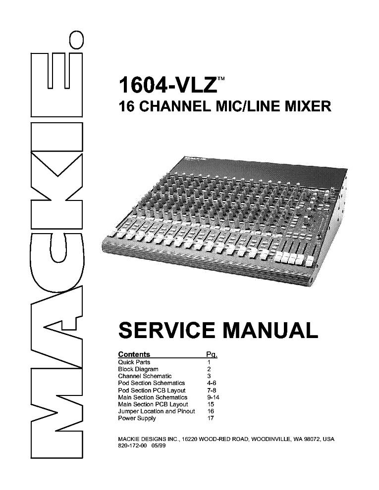 Mackie 1604vlz Service Manual Download  Schematics  Eeprom
