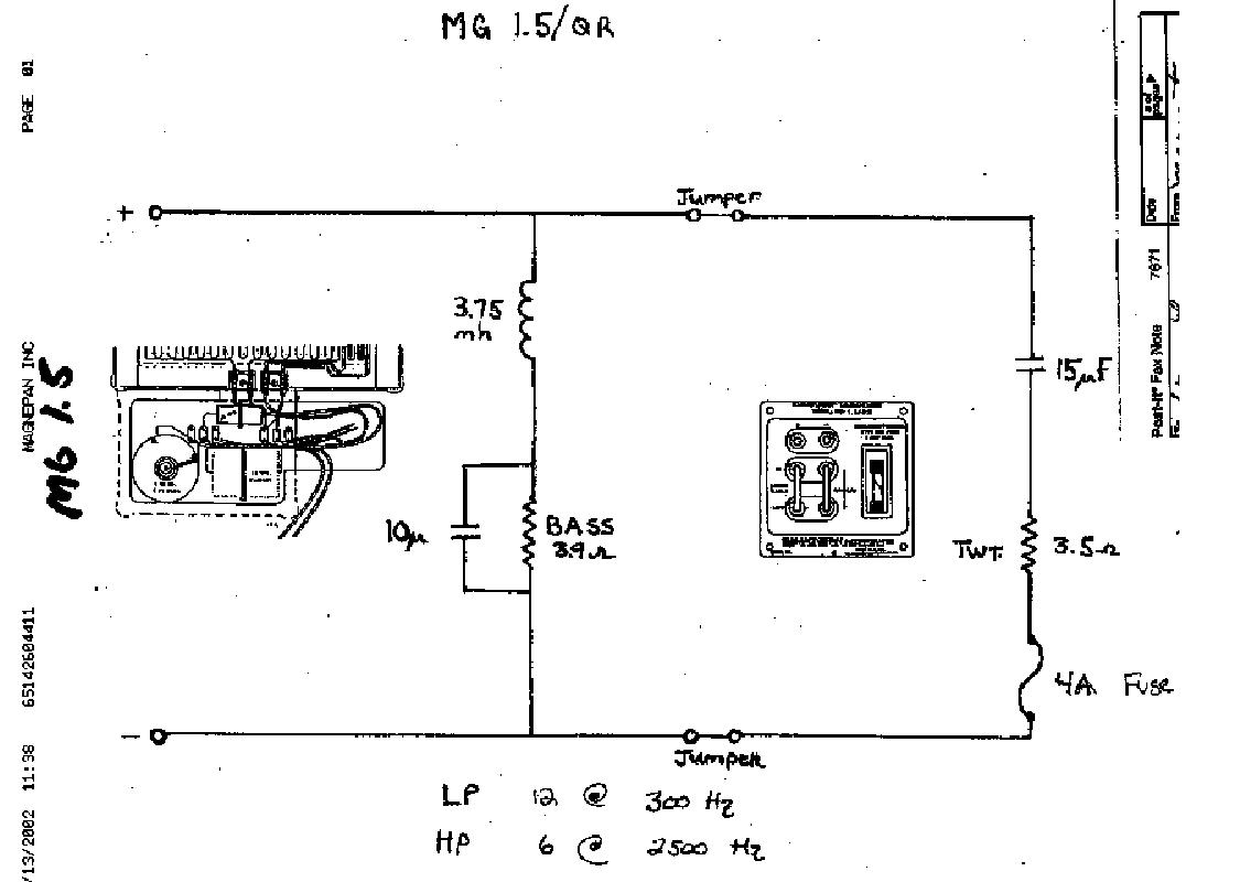 magnepan mg 1 5 two way cross filter sch service manual download rh elektrotanya com Magnepan 1 7 Crossover Magnepan 1.6Qr Mg