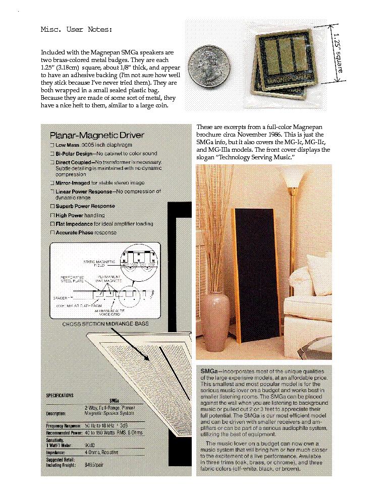 magnepan smga 2 way full range planar magnetic speaker system 1985 rh elektrotanya com Magnepan MMG Magnepan MMG