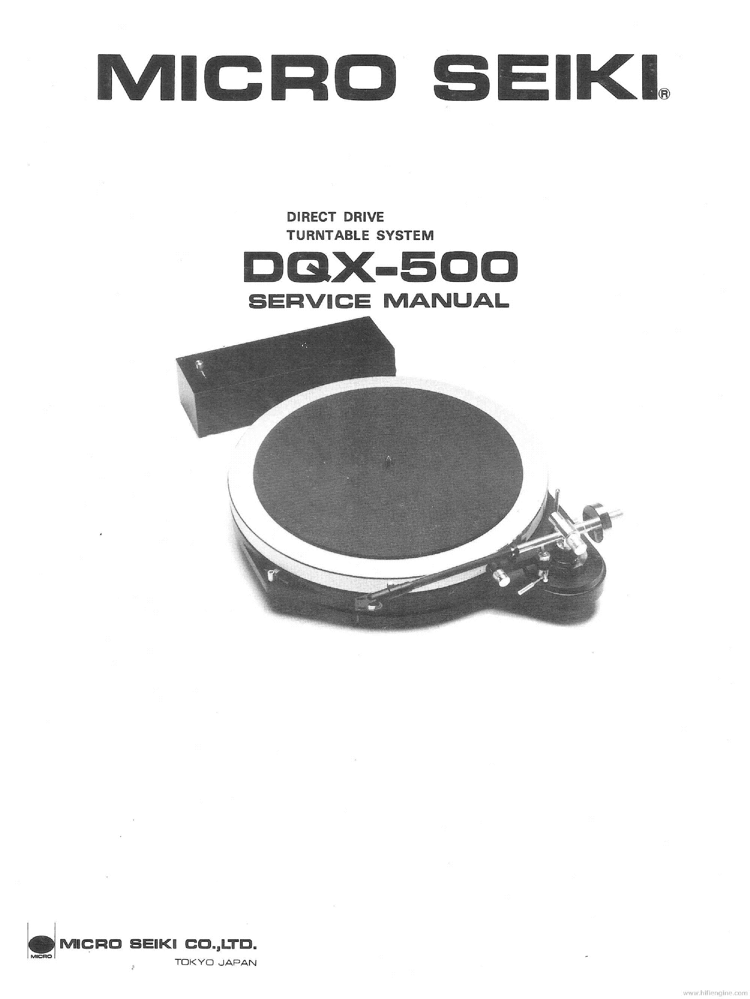 MICRO-SEIKI DQX-500 TURNTABLE service manual (1st page)
