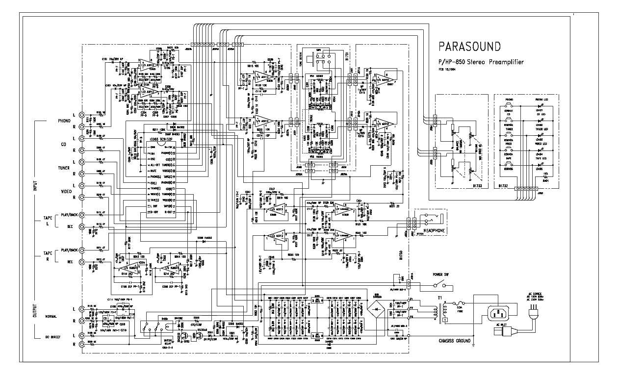 parasound dac 1000 sch service manual download  schematics