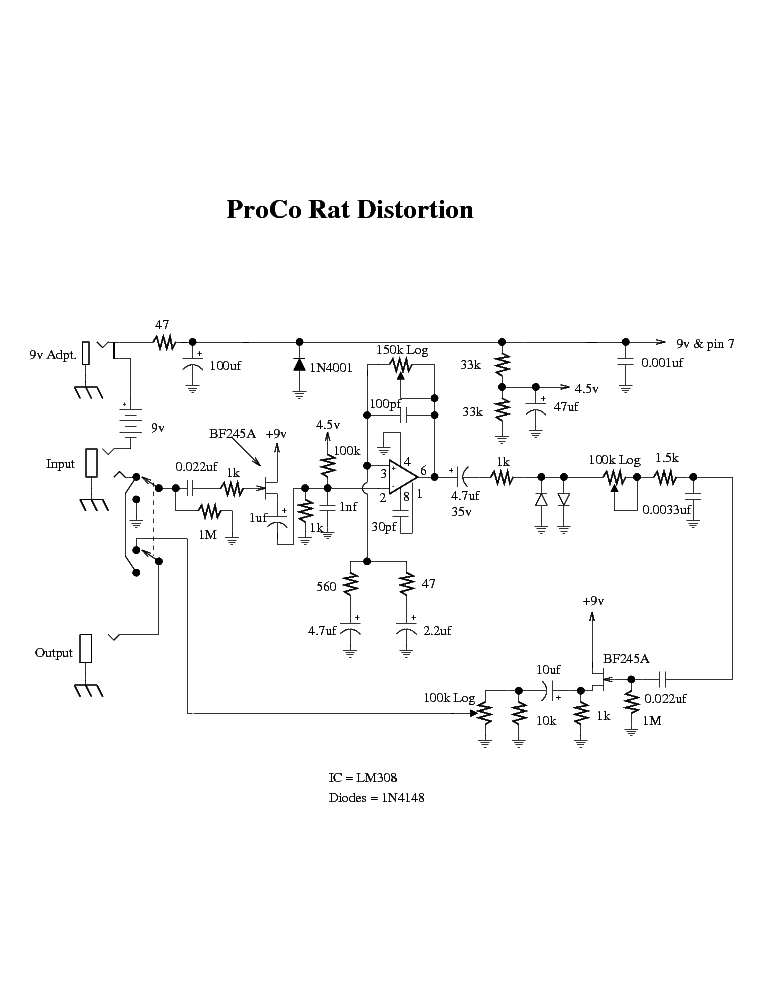 PROCO RAT DISTORTION Service Manual download, schematics ... on