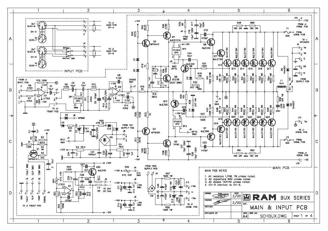 Ram Bux Series Poweramp Sch Service Manual Download  Schematics  Eeprom  Repair Info For