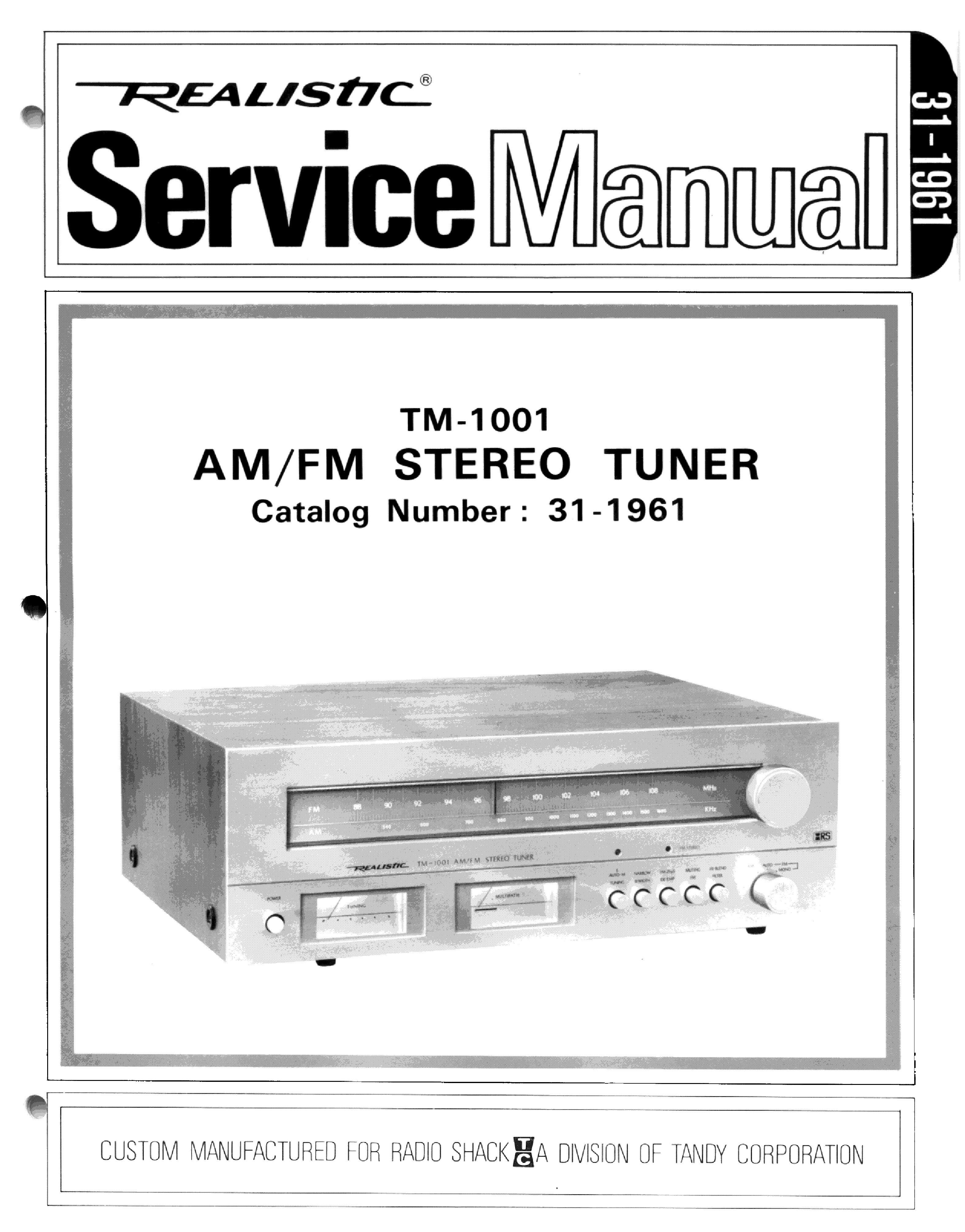 Realistic Tm 1001 Service Manual Download Schematics