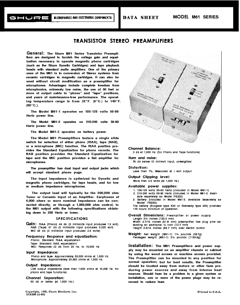 Shure U2 Sm Service Manual Download Schematics Eeprom
