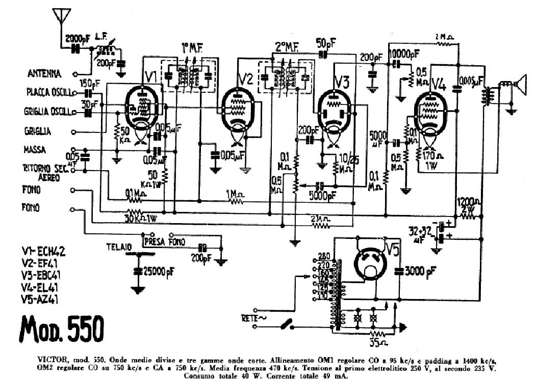VICTOR 550 AM RADIO RECEIVER SCH Service Manual 1st Page