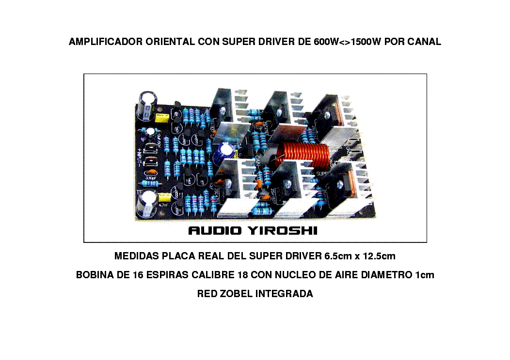 YIROSHI 1500W POWER AMPLIFIER SM Service Manual download, schematics