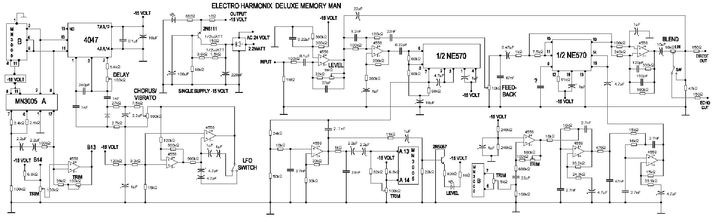 ELECTRO-HARMONIX DELUXE MEMORYMAN DELAY SCH service manual (1st page)