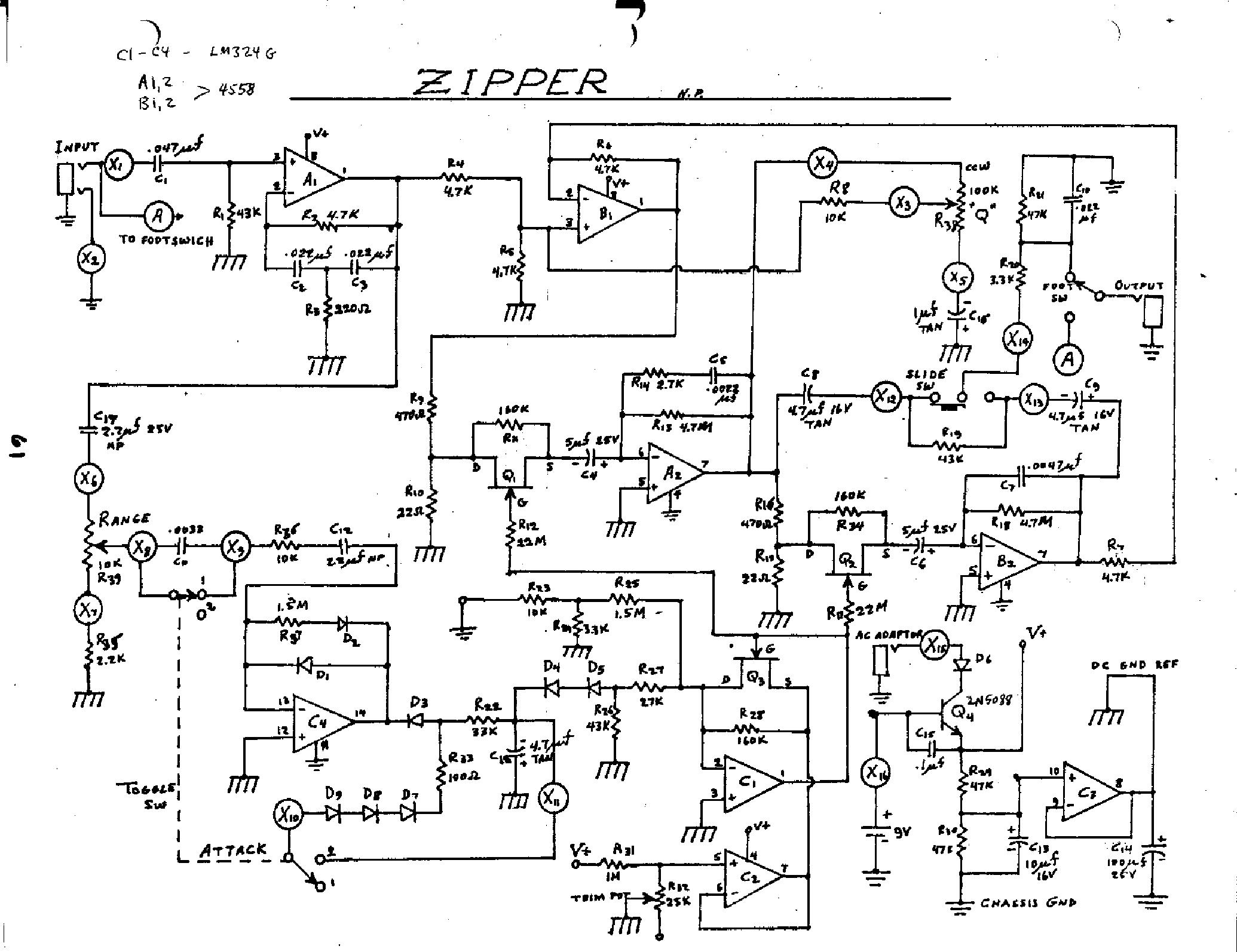 Electro Harmonix Zipper Envelope Sch Service Manual Download Ev Mic Wiring Diagram D767 1st Page