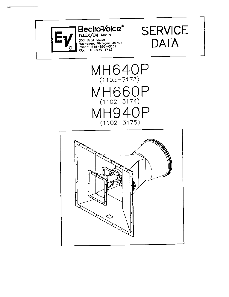 ELECTRO-VOICE MH640P 660P 940P Service Manual download, schematics