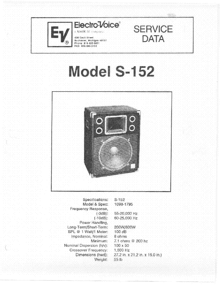 Electro Voice S 152 Sm Service Manual 1st Page