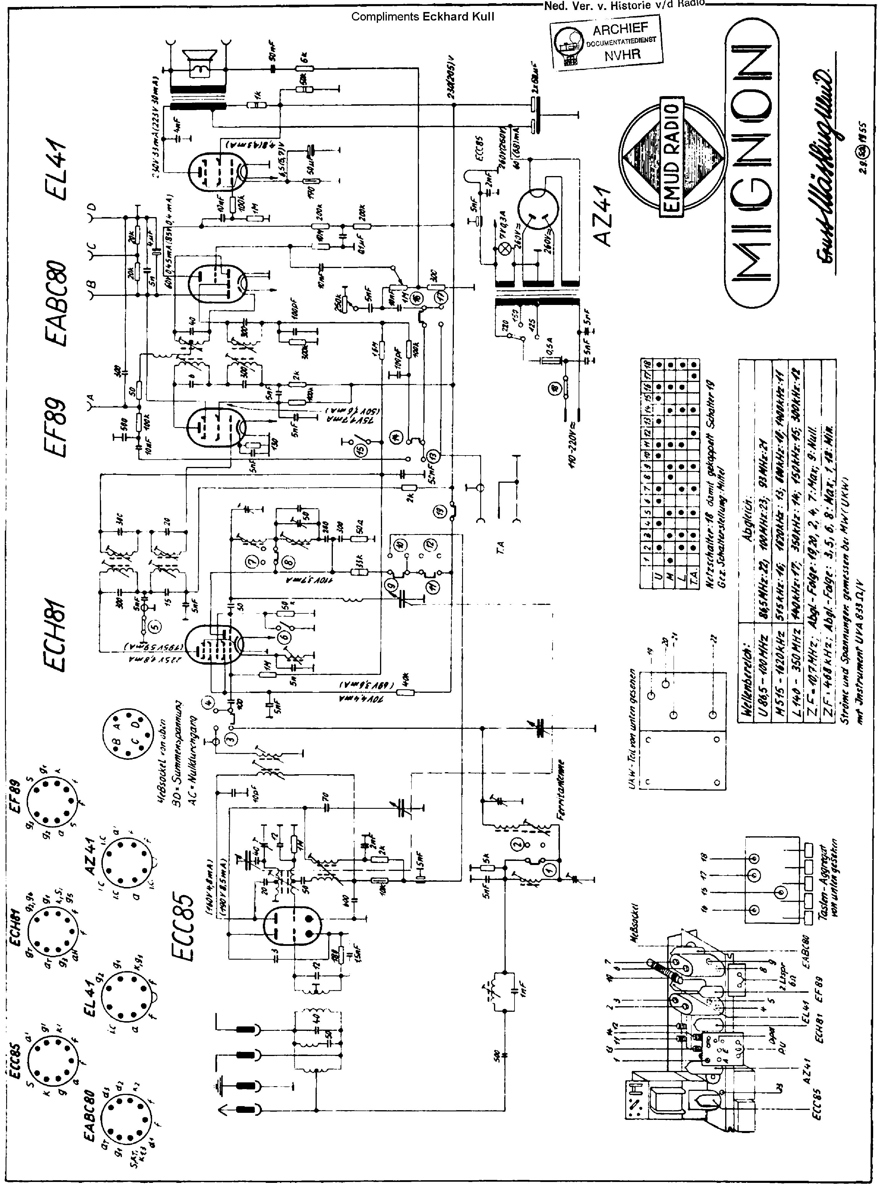 Emud Mignon Am Fm Receiver Sch Service Manual Download Schematics 1st Page