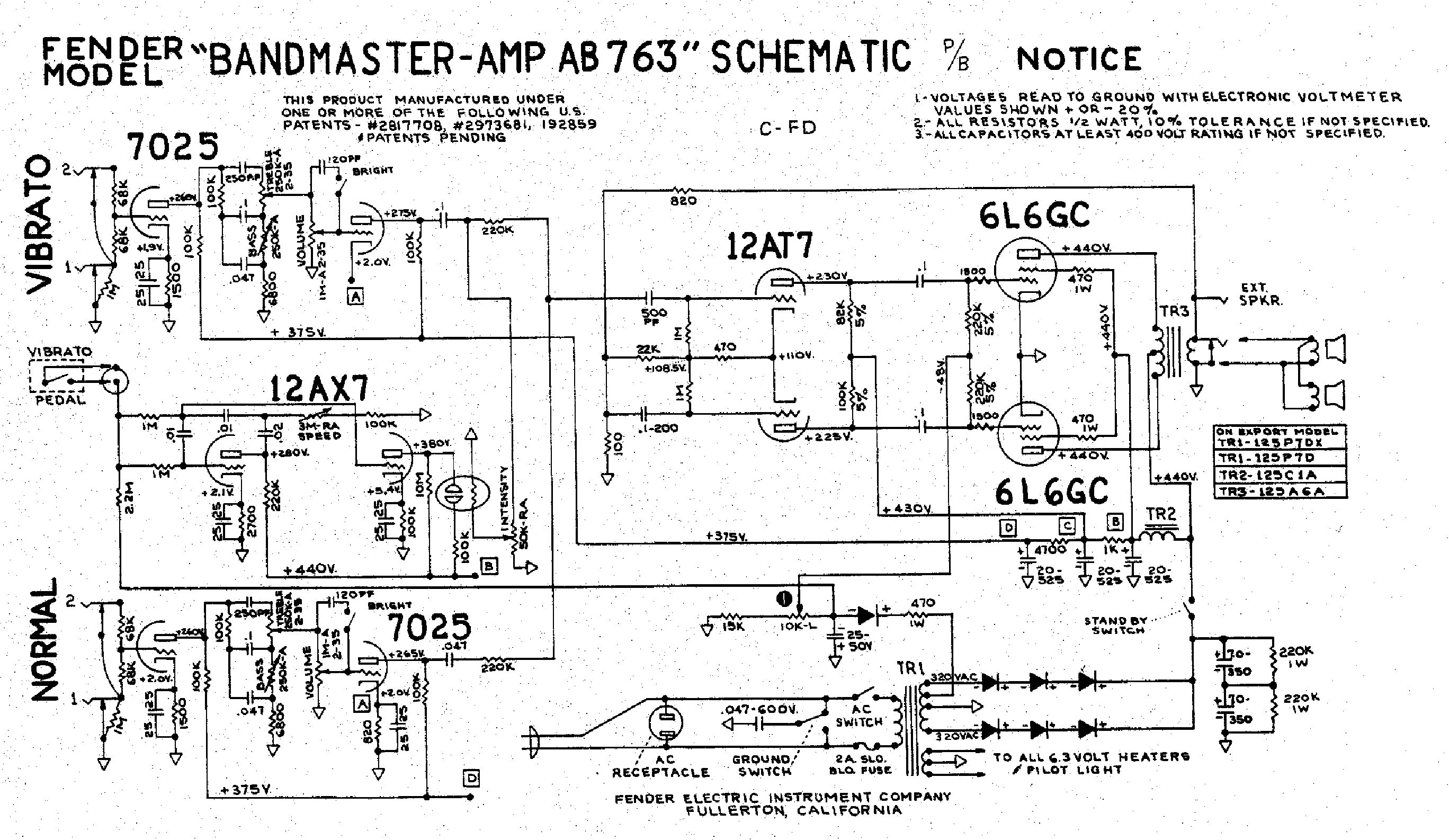 FENDER BANDMASTER-AB763 Service Manual download, schematics, eeprom on peavey reverb schematic, piping and instrumentation diagram, champ schematic, 5e3 schematic, twin reverb schematic, one-line diagram, technical drawing, functional flow block diagram, tube map, bassman schematic, circuit diagram, super reverb schematic, block diagram,
