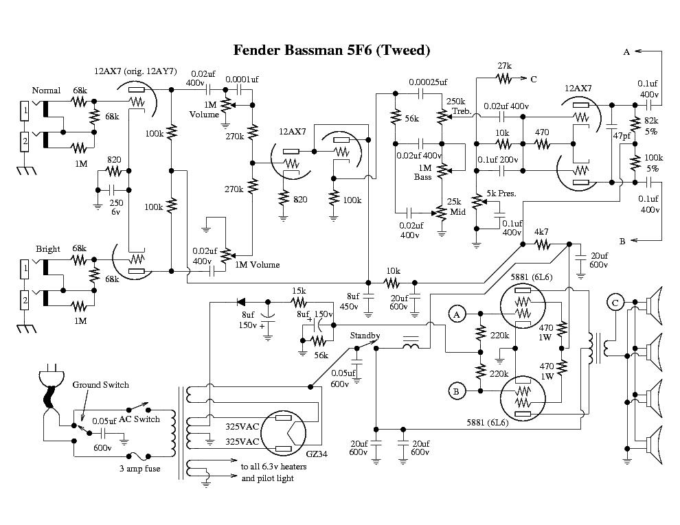 FENDER BASSMAN-5F6 TWEED Service Manual download, schematics