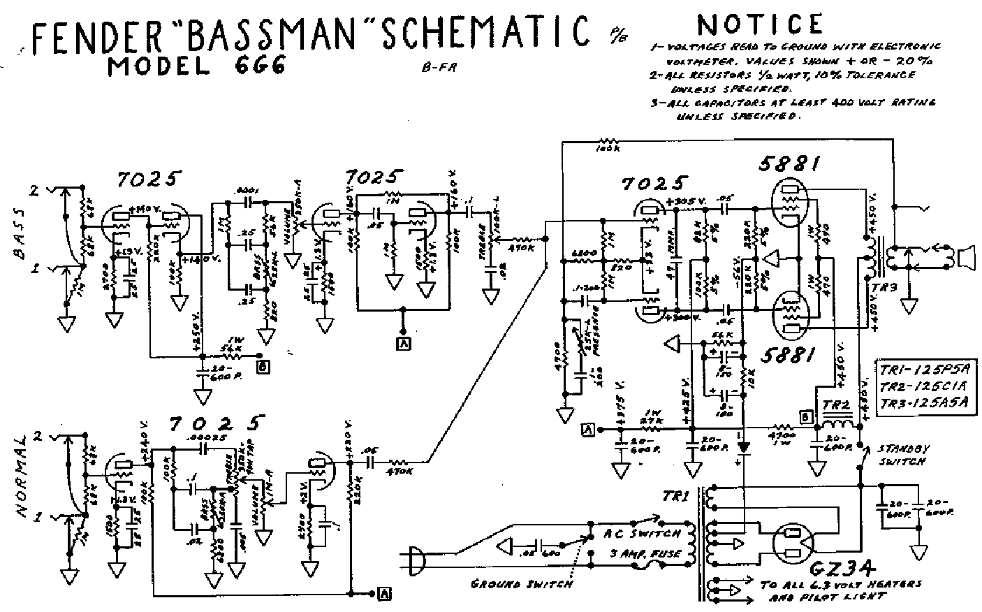 Fender Bassman 6g6 Sch Service Manual Download  Schematics  Eeprom  Repair Info For Electronics