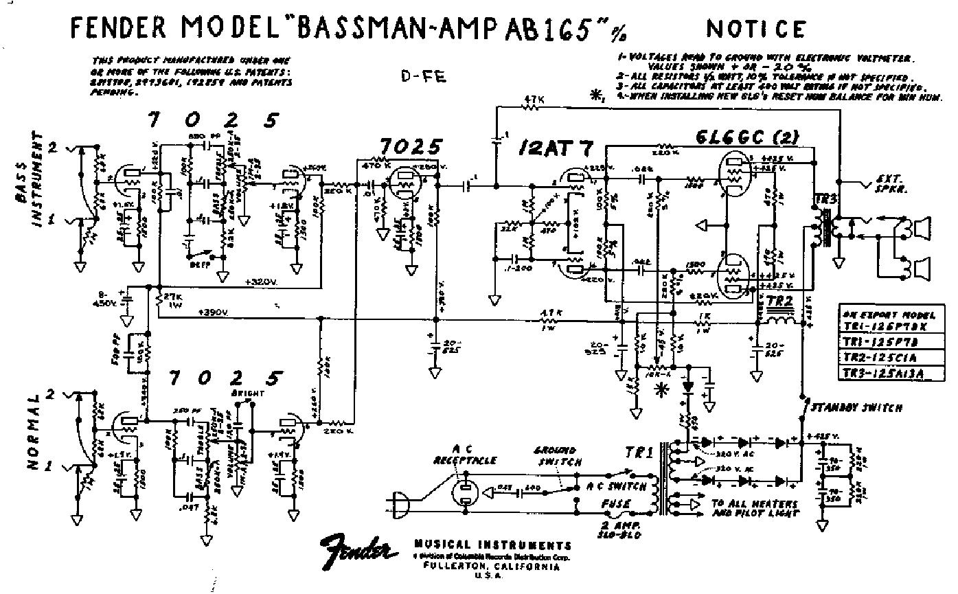 Fender Bassman Ab165 Sch Service Manual Download Schematics Eeprom Amp Repair Schematic 1st Page