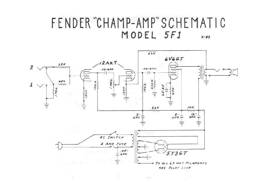 FENDER CHAMP-AMP 5F1 SCH Service Manual download, schematics, eeprom