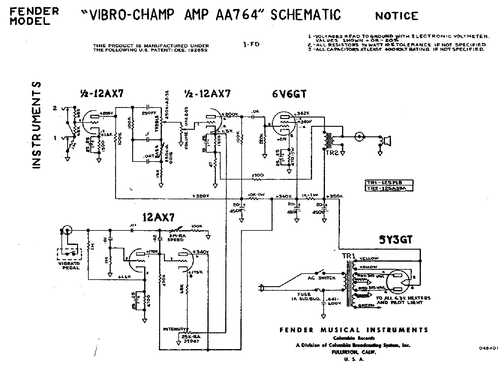 Fender Champ Vibro Aa764 Service Manual Download