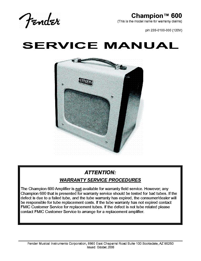 Fender Champion 600 Reissue Sm Service Manual Download
