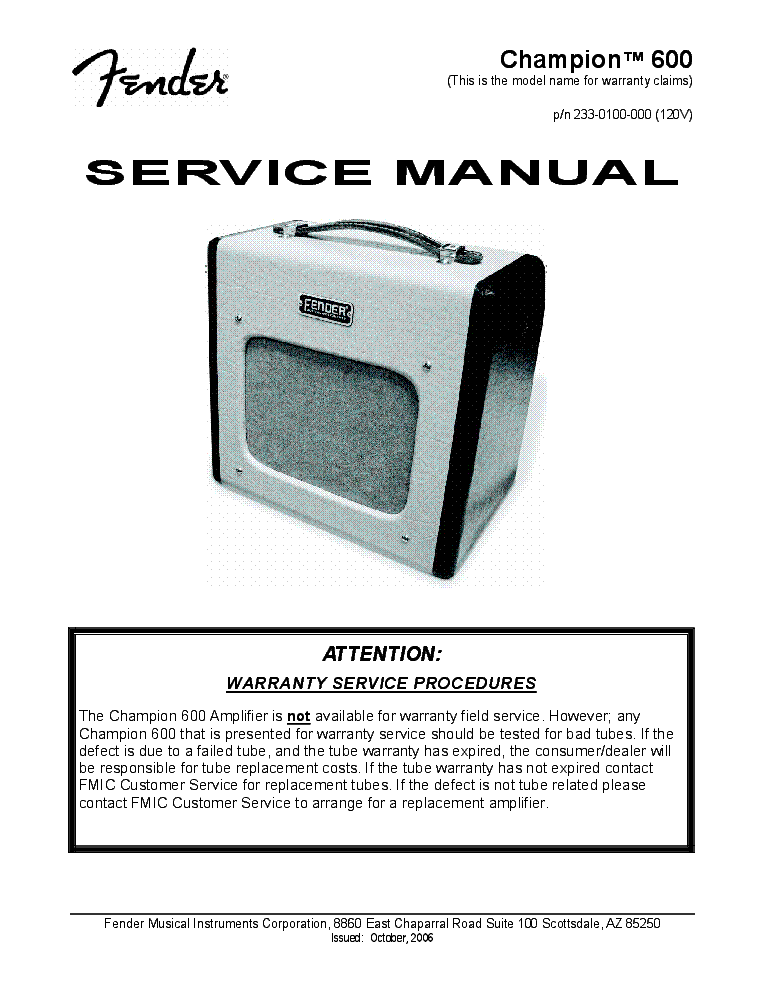 fender champion 600 reissue manual service manual download rh elektrotanya com Parts Manual Customer Service Books