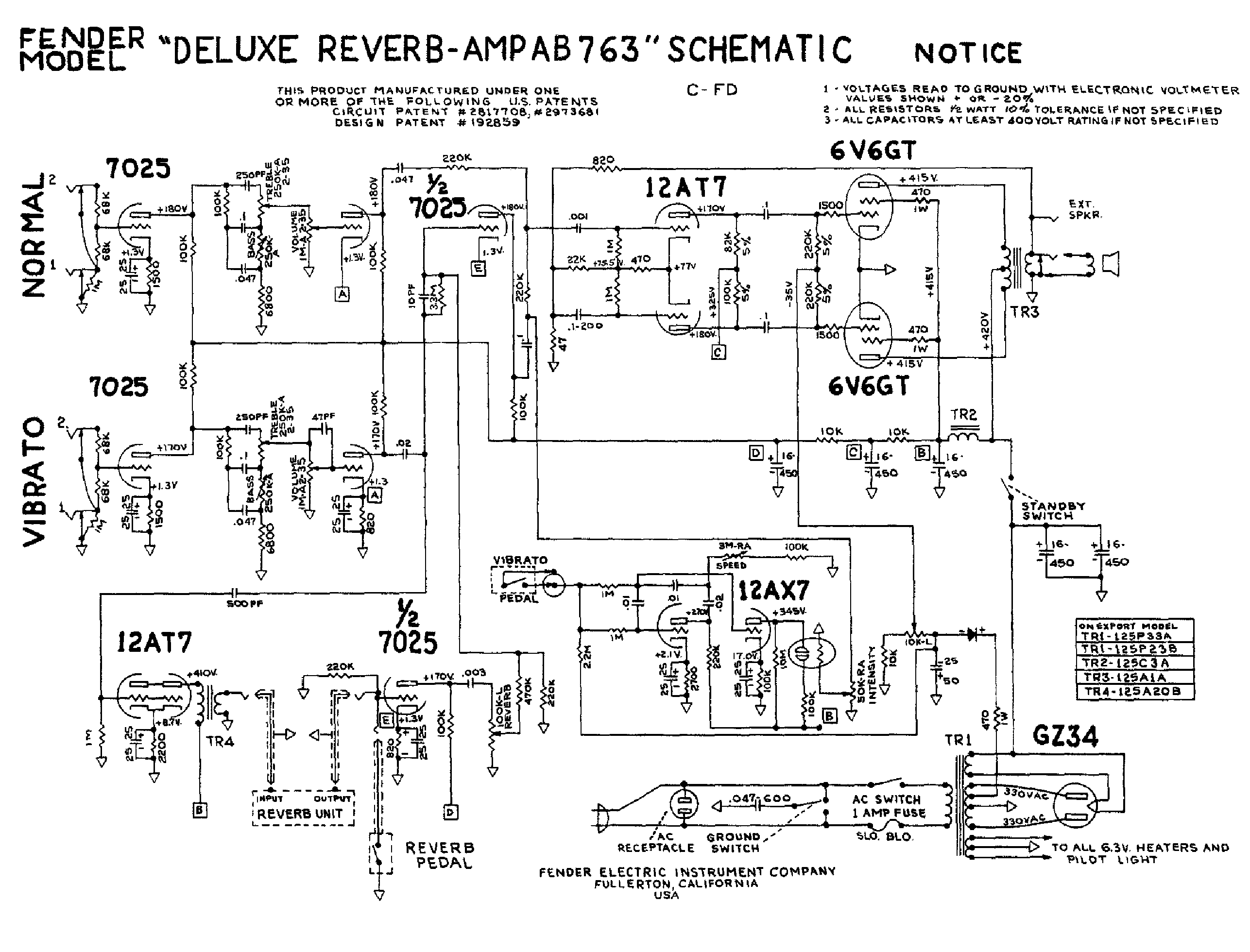 fender deluxe reverb ab763 service manual download schematics rh elektrotanya com fender 68 custom deluxe reverb service manual fender deluxe reverb ii owner's manual