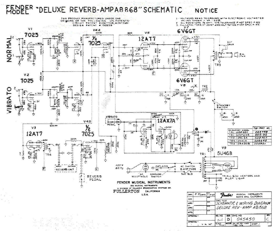 deluxe reverb wiring diagram american deluxe strat wiring diagram fender deluxe-reverb-ab868 service manual download ... #5