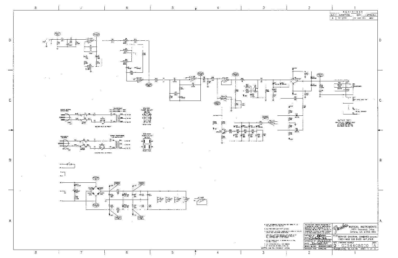 FENDER FRONTMAN-15B SCH Service Manual download, schematics, eeprom on