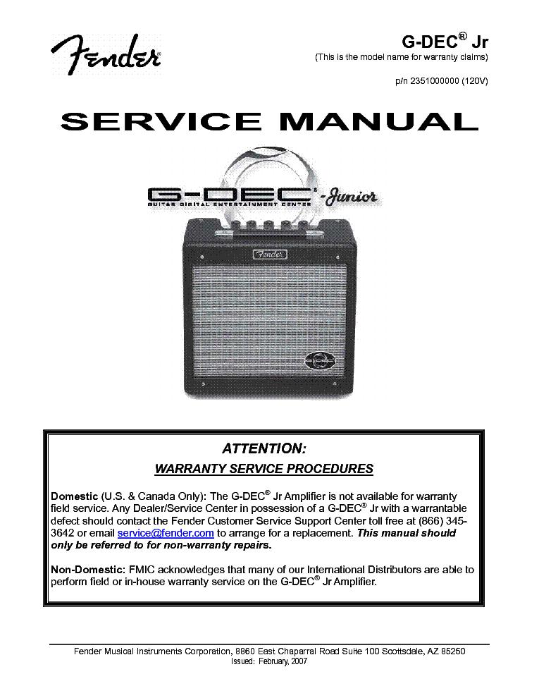 fender g dec 3 manual