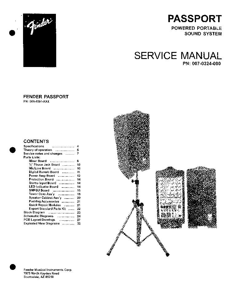 FENDER PASSPORT P-250 SM service manual (1st page)