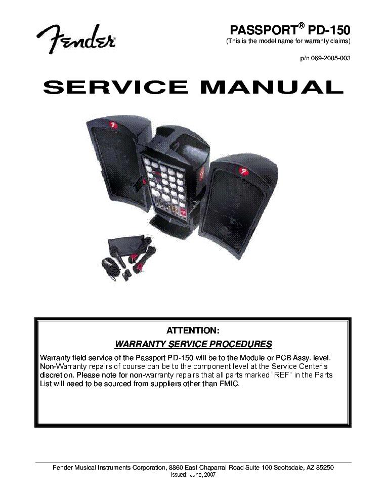 fender passport pd 150 rev2 sm service manual download schematics rh elektrotanya com Fender Passport 250 Owner's Manual Fender Passport P-150