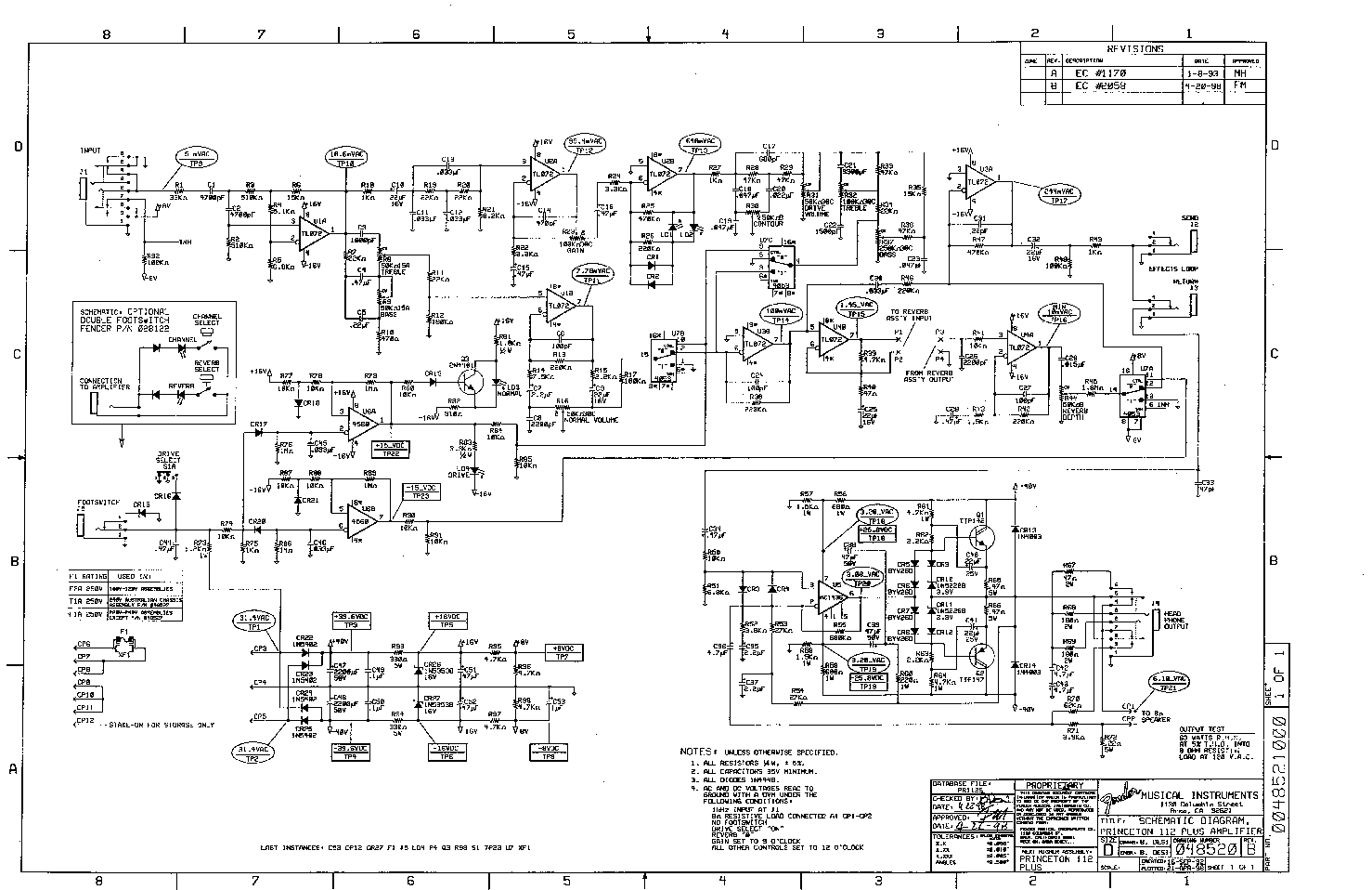 Fender Mustang Schematics Block And Schematic Diagrams Guitar Wiring Diagram Princeton 112 Plus Sch Service Manual Download Rh Elektrotanya Com Jaguar Super Champ Xd