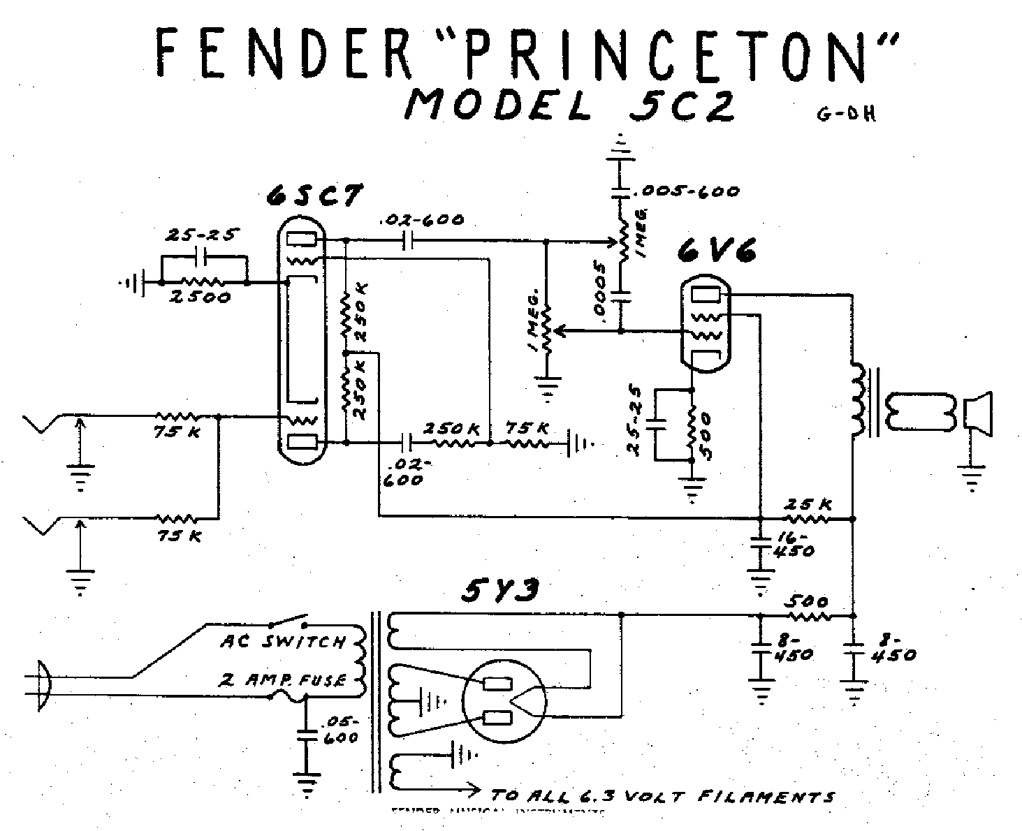 FENDER PRINCETON-5C2 Service Manual download, schematics ... on technical drawing, functional flow block diagram, block diagram, tube map, piping and instrumentation diagram, one-line diagram, circuit diagram,