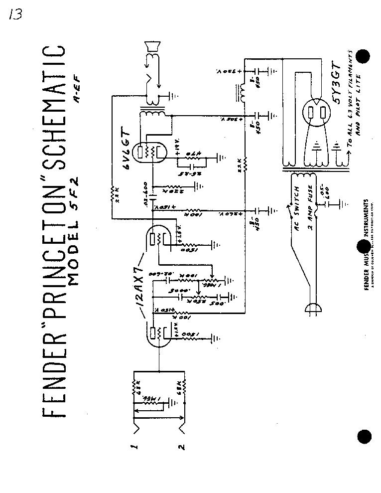 FENDER PRINCETON 5F2 SCH Service Manual 1st Page