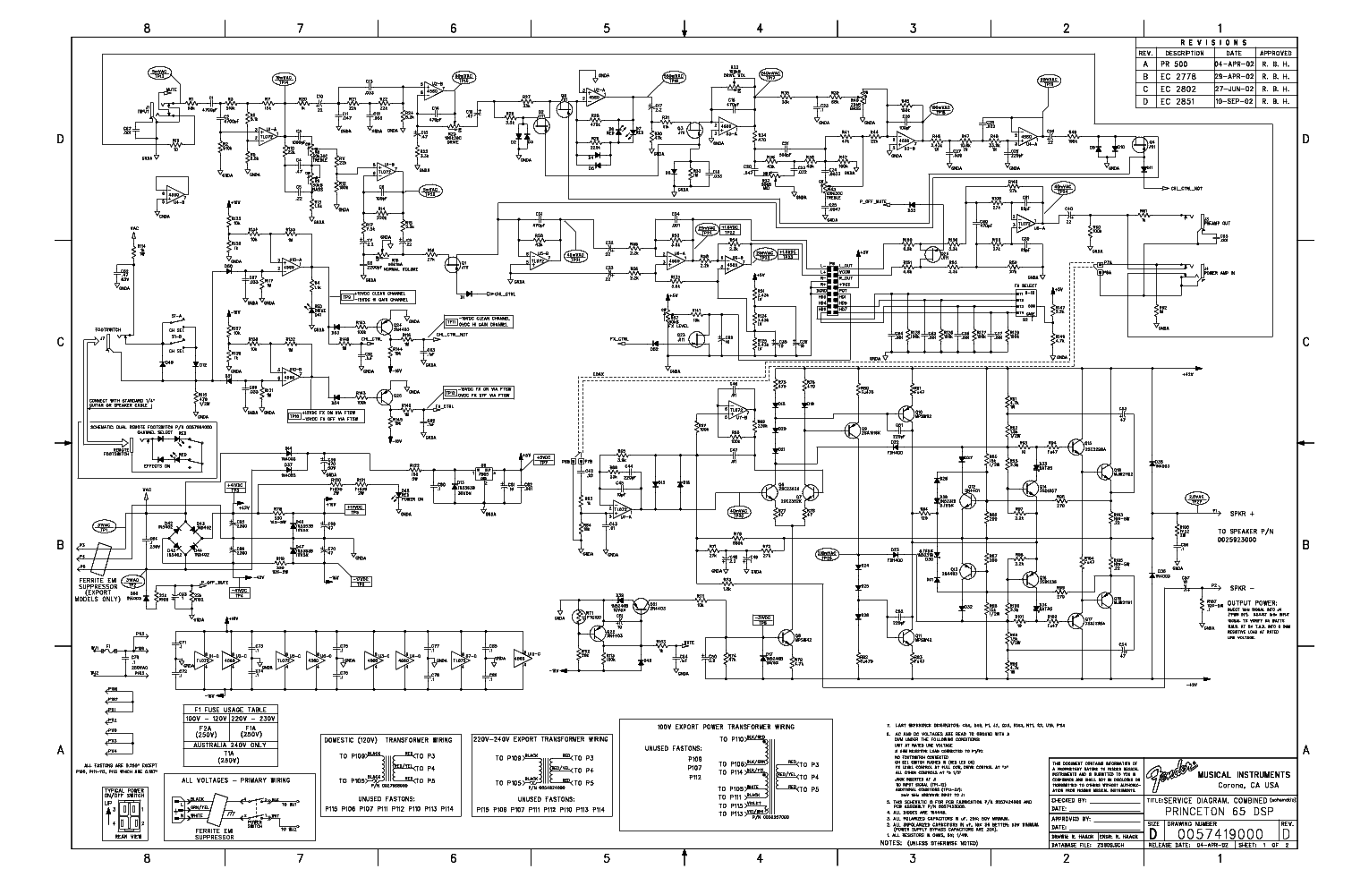 Fender Princeton Wiring Diagram Schematic Diagrams Support 65 Dsp Guitar Amplifier Sch Service Manual Download