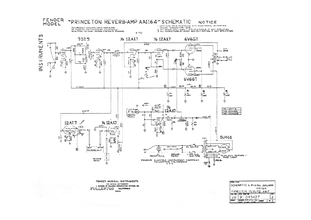 FENDER PRINCETON REVERB-AMP AA1164 SCH Service Manual ... on technical drawing, functional flow block diagram, block diagram, tube map, piping and instrumentation diagram, one-line diagram, circuit diagram,
