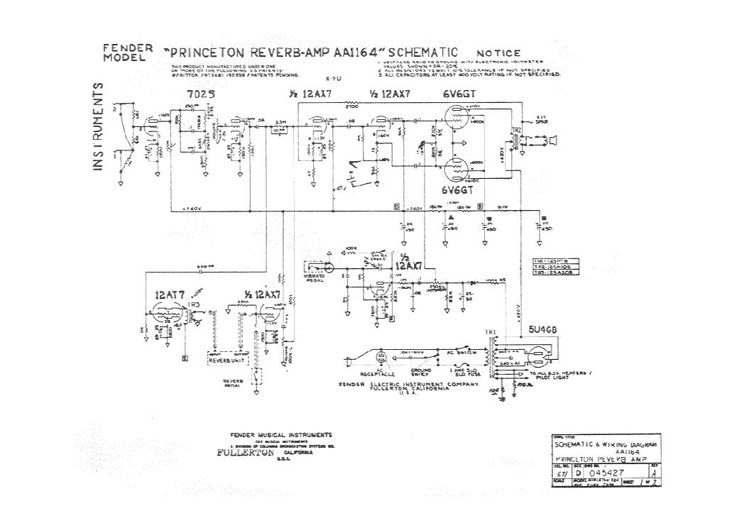 FENDER PRINCETON REVERB-AMP AA1164 SCH Service Manual