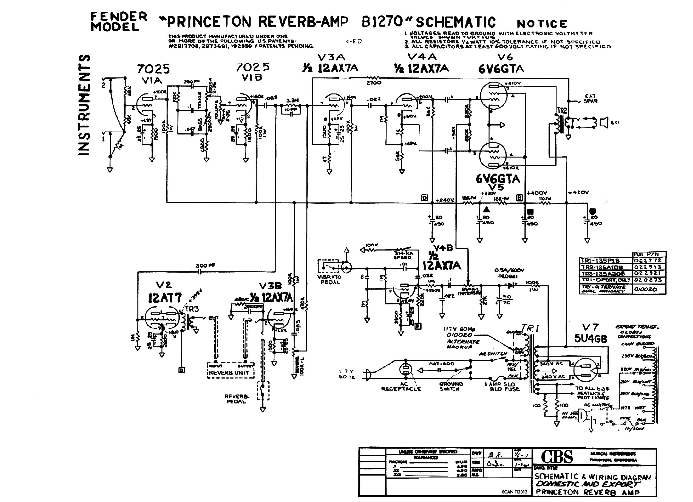 FENDER PRINCETON REVERB B1270 SCH Service Manual download
