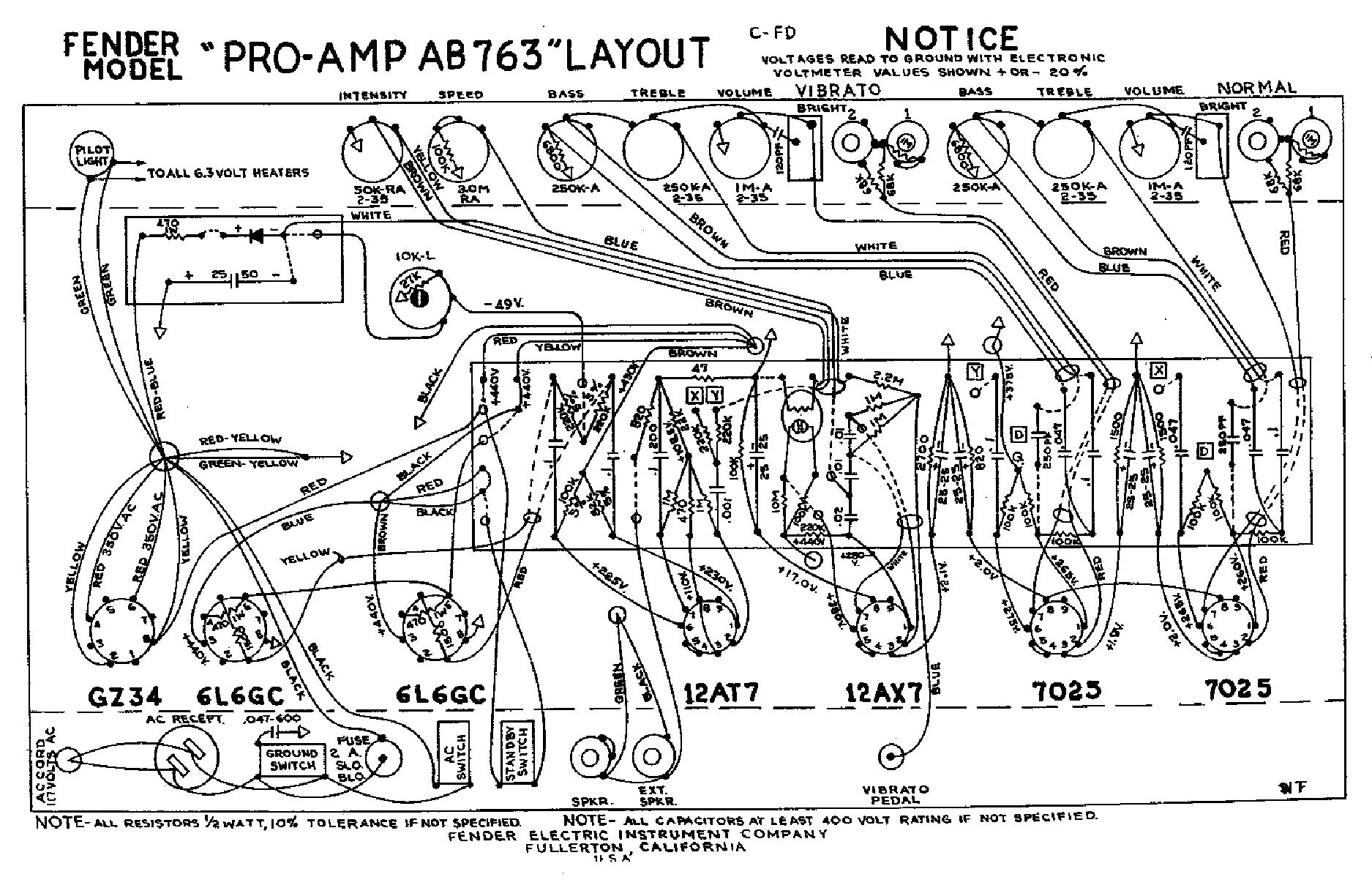 Fender Pro Ab763 Sch Service Manual Download  Schematics