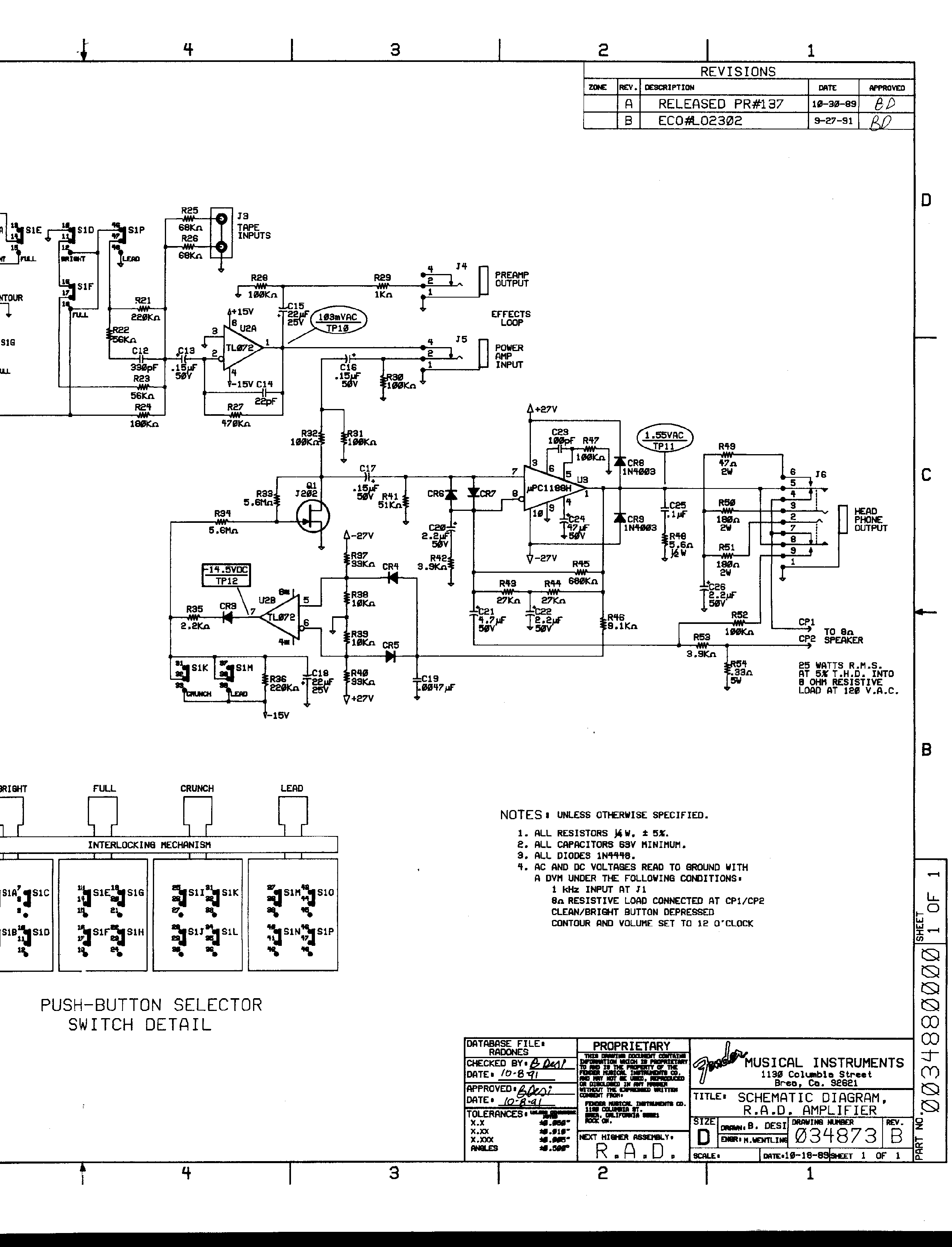 FENDER R.A.D.AMPLIFIER service manual (2nd page)