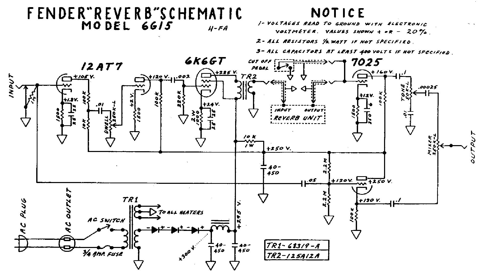 Ламповый ревербератор схема