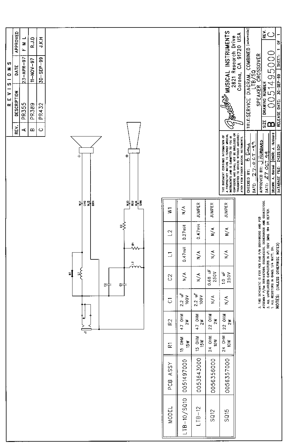 fender speaker crossover sch service manual download  schematics  eeprom  repair info for