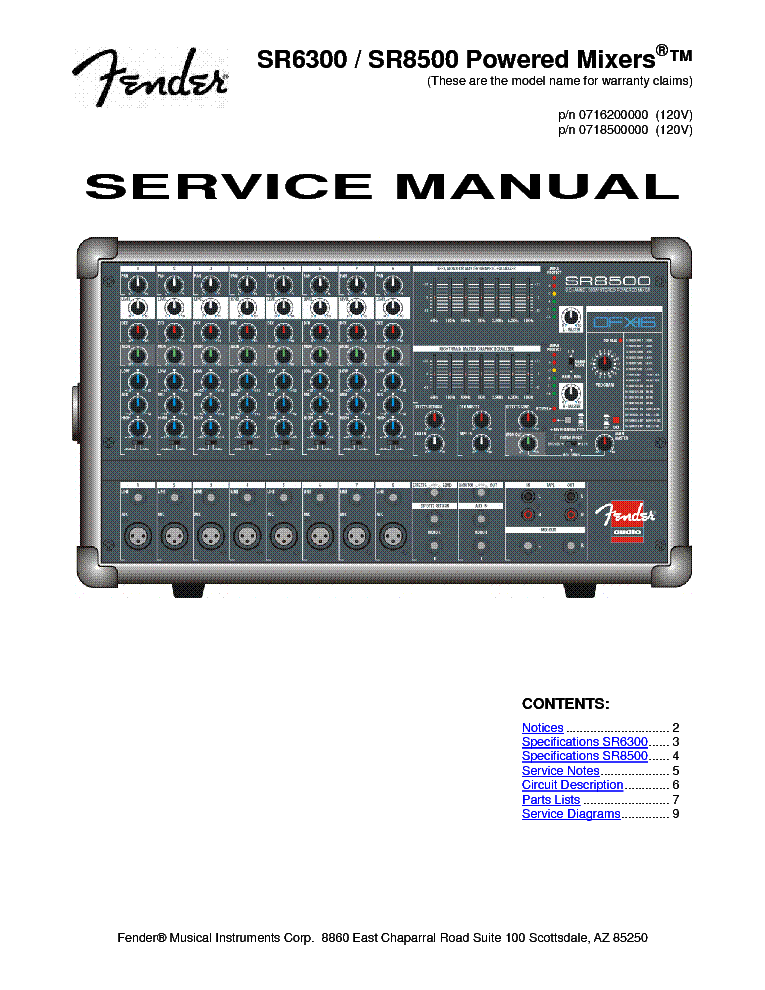 fender sr8300p powered mixer pdf manual