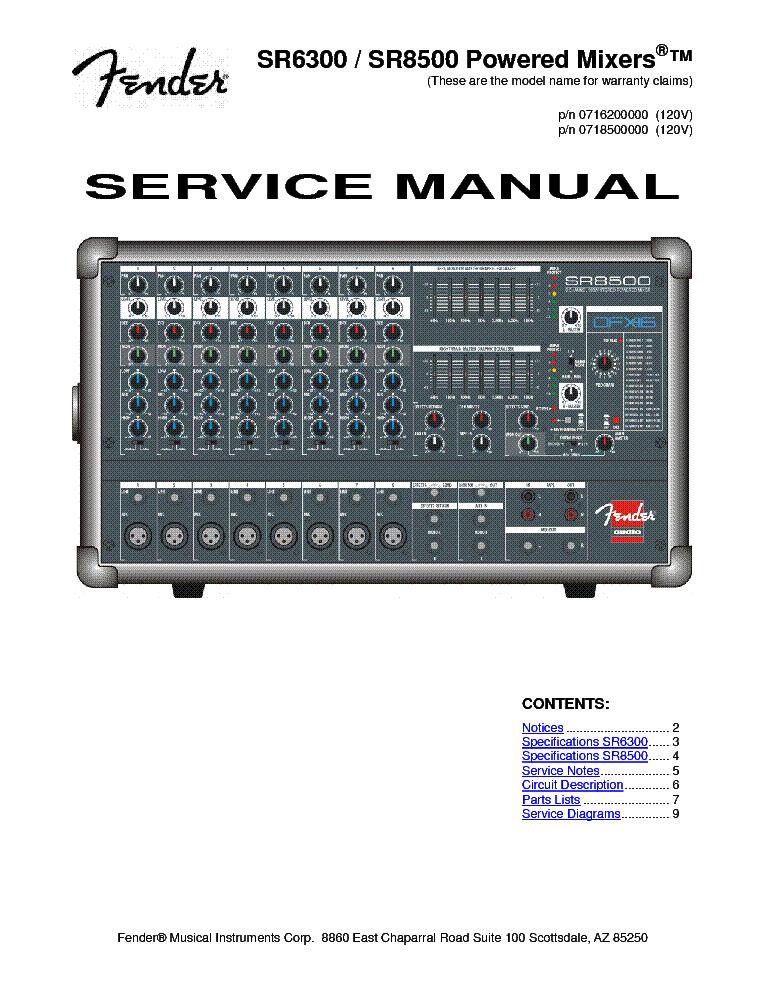 fender sr  sr  powered mixer service manual free download, schematic