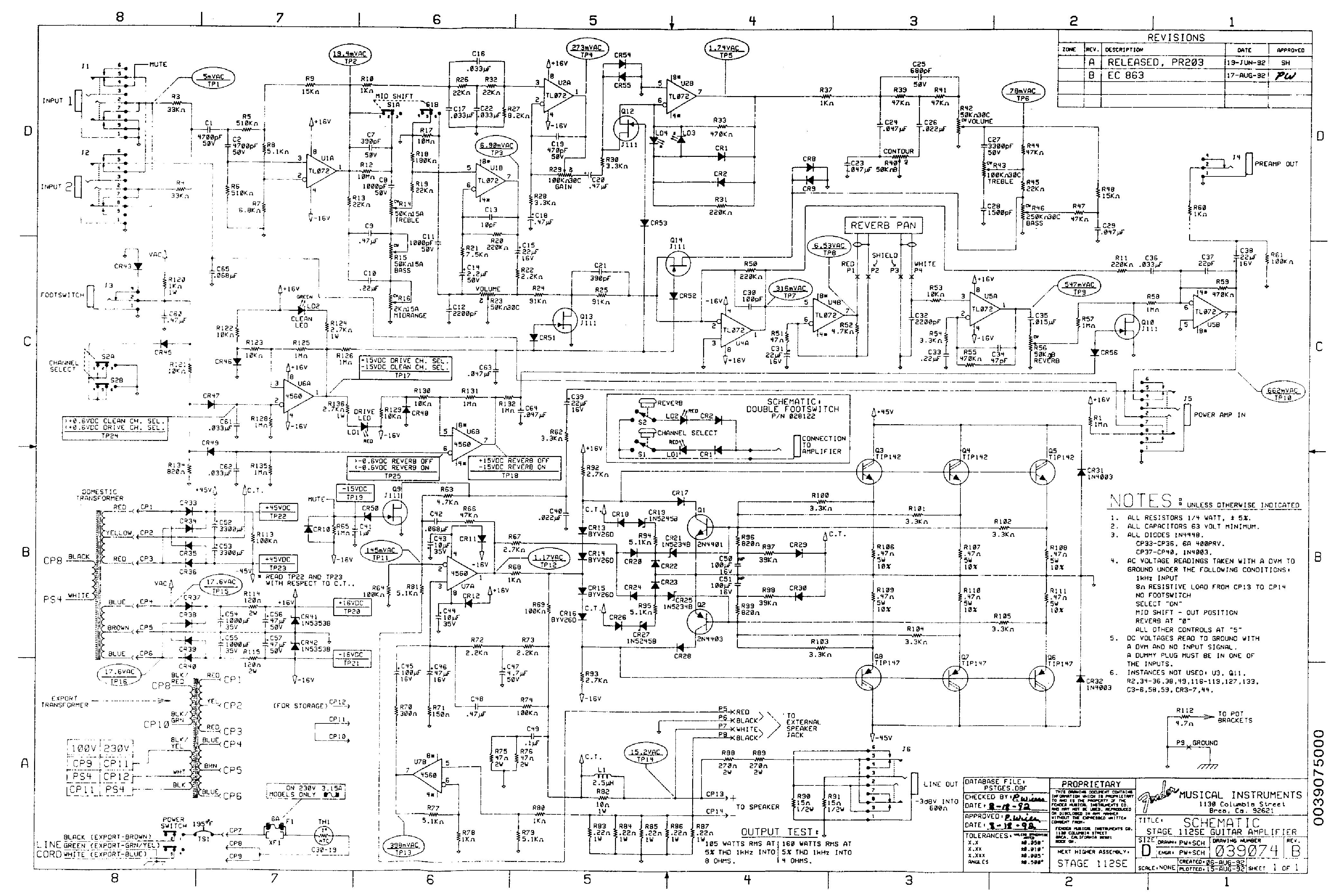 Fender Stage Se Wiring Diagram on