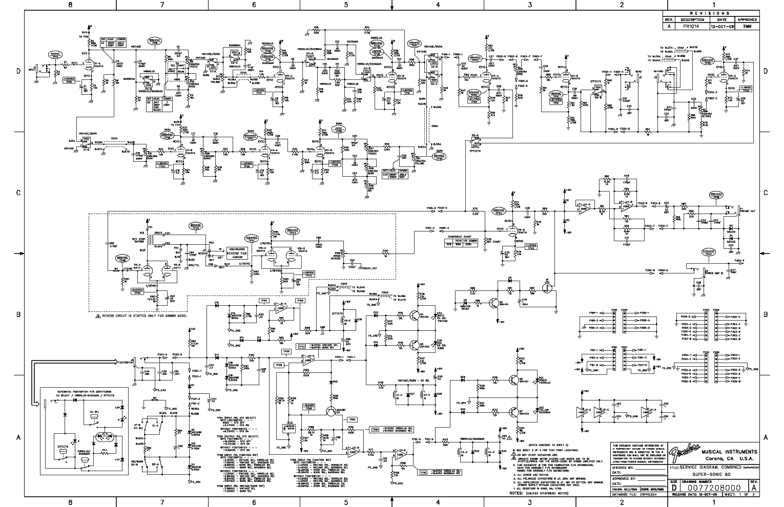 FENDER SUPER-SONIC 60 COMBO SCHEMATIC REV-A Service Manual download on